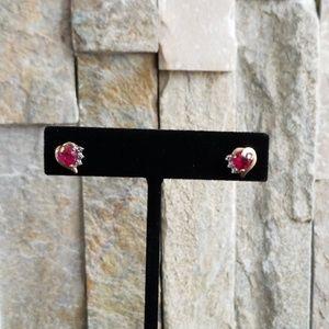 Jewelry - 14K Diamond and Created Ruby Earrings